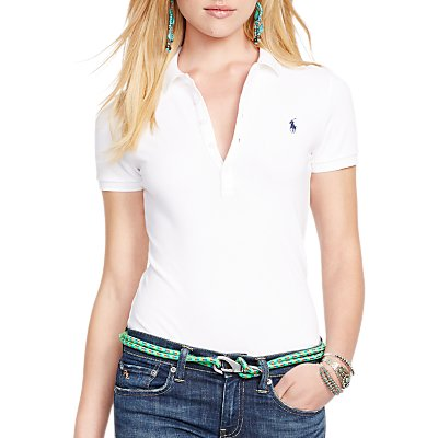 Polo Ralph Lauren Julie Skinny Fit Stretch Polo Shirt, White
