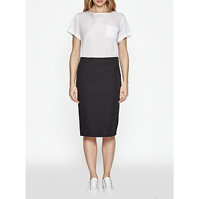 French Connection Street Twill Pencil Skirt, Black