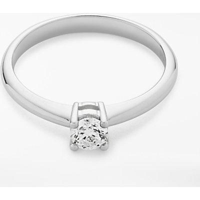 Diamond Collection 18ct White Gold Round Brilliant Diamond Engagement Ring  0 25ct - 5055258099059