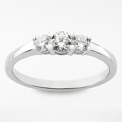 Diamond Collection 18ct White Gold Round Brilliant Diamond Trilogy Engagement Ring  0 5ct - 5055258099257