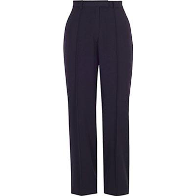 Chesca Pin Stitch Trim Stretch Trousers, Navy