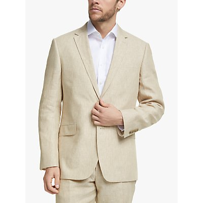 John Lewis & Partners Linen Regular Fit Suit Jacket, Stone