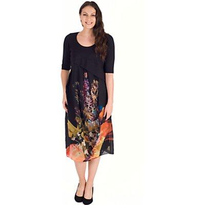Chesca Tulip Chiffon Dress, Black/Orange