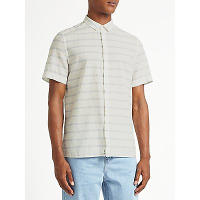 Kin by John Lewis Static Stripe Cotton Linen Short Sleeve Shirt  White - 23085169
