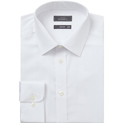John Lewis & Partners Non Iron Twill Tailored Fit XL Sleeve Shirt, White