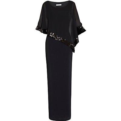 Gina Bacconi Crepe Maxi Dress And Sequin Band Chiffon Cape