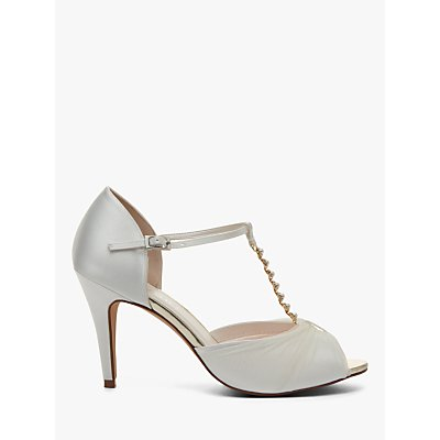 Rainbow Club Adrianna Satin and Tulle Stiletto Heel Sandals, Ivory