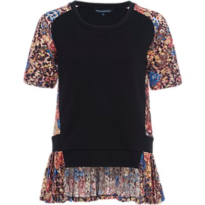French Connection Flora Jersey Lace Top  Multi - 889042124284