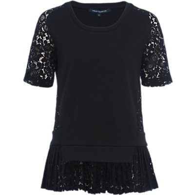 French Connection Fast Flora Jersey Lace Top  Black - 889042124338