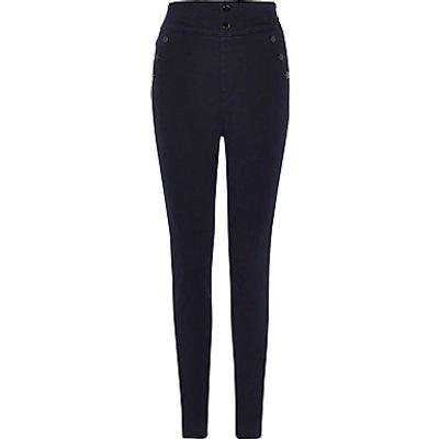 Karen Millen Button Detail Leggings  Dark Denim - 5054236169395