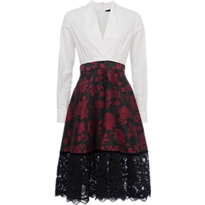 French Connection Beatrice Brocade Shirt Dress  Red Winter White - 889042124222