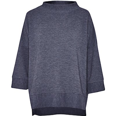 French Connection Sudan Marl Oversized Ribbed Top  Dark Grey Mel - 887916332902