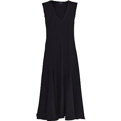French Connection Whisper Ruth V Neck Flared Dress, Black