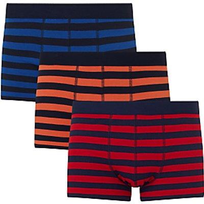23400207 | John Lewis Rugby Stripe Trunks  Pack of 3  Blue Orange Red