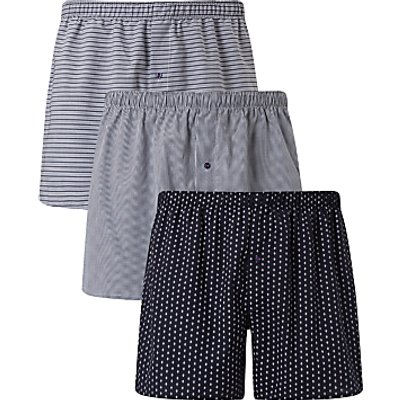 23415782 | John Lewis Ashstead Multi Pattern Woven Cotton Boxers  Pack of 3  Navy
