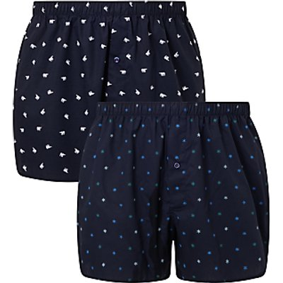 23416079 | John Lewis Arctic Print Woven Cotton Boxers  Pack of 2  Navy
