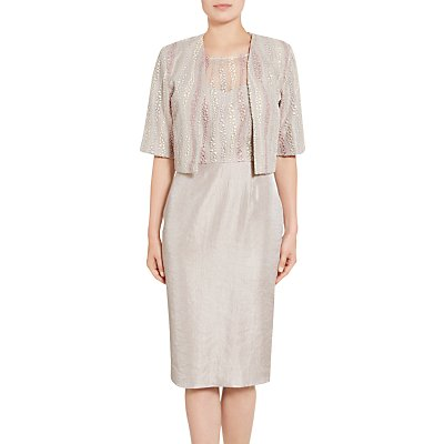 Gina Bacconi Embroidered Mesh Dress And Jacket, Oyster
