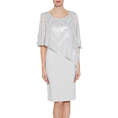 Gina Bacconi Moss Crepe Dress And Twinkle Chiffon Cape, Silver Mist