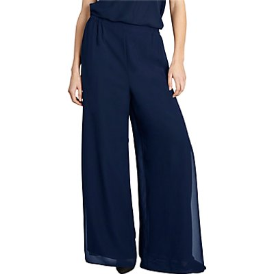 Gina Bacconi Chiffon Layered Trousers With Slits