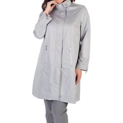 Chesca Ruched Collar Zip Raincoat, Grey