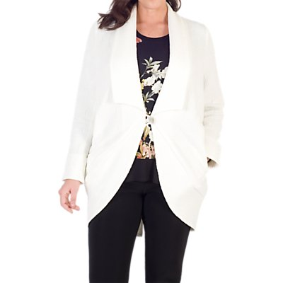 Chesca Shawl Collar Jacquard Coat, White