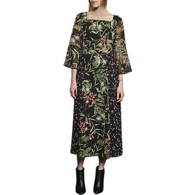 French Connection Bluhm Botero Sheer Maxi Dress, Black/Multi