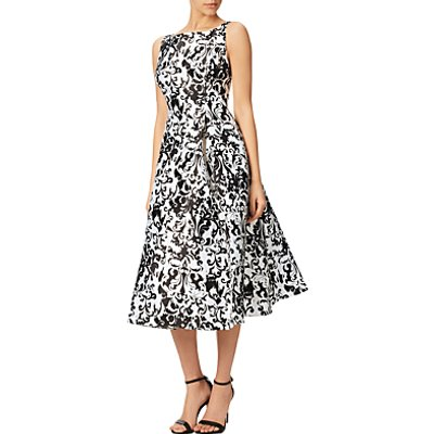 Adrianna Papell Sleeveless Printed Mikado Party Dress, Black