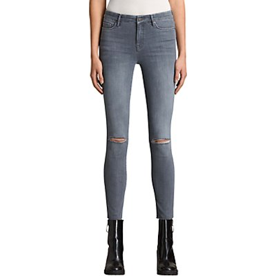 AllSaints Grace Slashed Jeans  Grey - 5057055081336