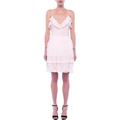 French Connection Adanna Pleat Lace Jersey Dress  Pink Opal - 889042262863