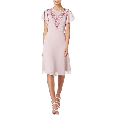 Raishma Floral Embroidered Angel Sleeve Dress, Mauve