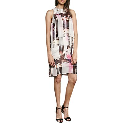 French Connection Cornell Sheer Print Dress, Neon Nectar/Multi
