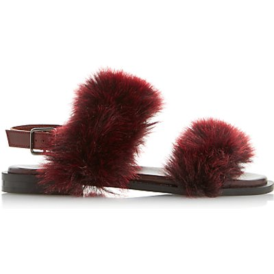 Dune Black Luisa Fluffy Double Strap Sandals - 5057137633873