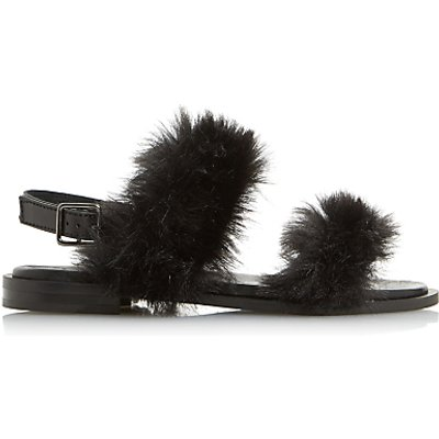 Dune Black Luisa Fluffy Double Strap Sandals - 5057137633811