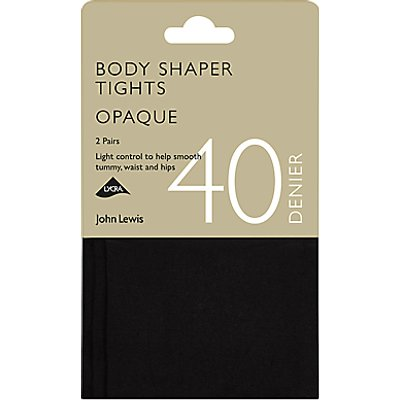John Lewis & Partners 40 Denier Bodyshaper Opaque Tights, Pack of 2