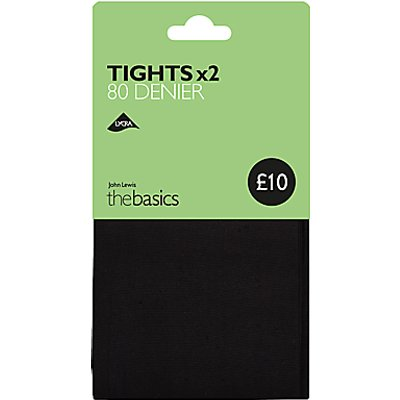 John Lewis & Partners 80 Denier Opaque Tights, Pack of 2