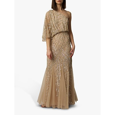 Raishma One Shoulder Gown, Champagne