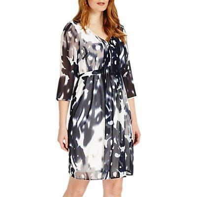 Studio 8 Ainsley Abstract Print V Neck Shift Dress, Monochrome