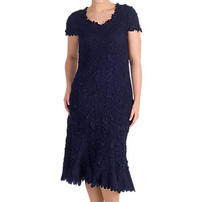 Chesca Petal Trim Floral Crush Dress, Navy
