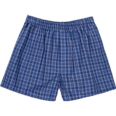 Sunspel Woven Cotton Check Boxers  Navy - 5056088851527