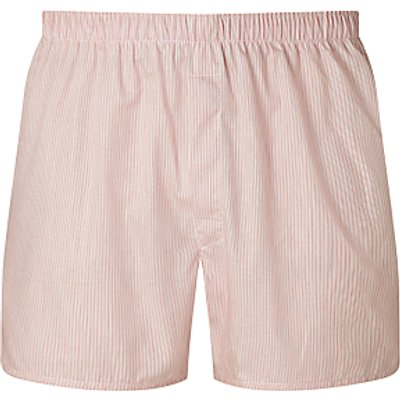 Sunspel Woven Cotton Stripe Boxers  Red White - 5056088851930