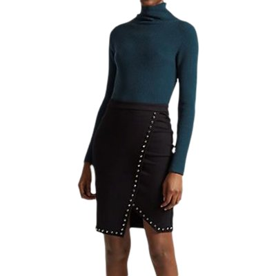 French Connection Lula Rhinestone Wrap Skirt, Black
