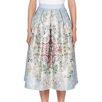 Ted Baker Kikey Patchwork Pleat Skirt  Pale Blue - 5054787505437