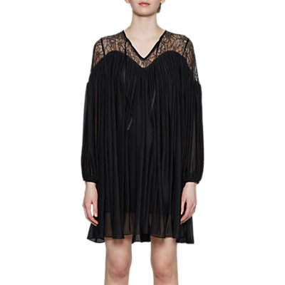 French Connection Lassia Lace Detail Tie Neck Dress, Black