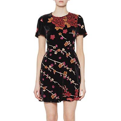 French Connection Wilma Velvet Devore Short Sleeve Dress, Black/Multi
