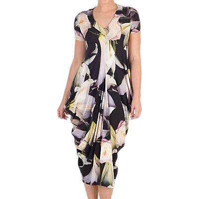 Chesca Lily Rose Print Jersey Dress, Black/Multi