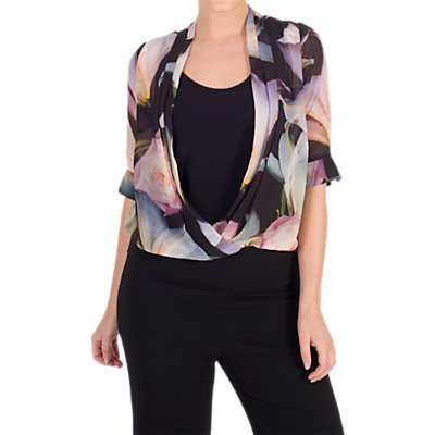 Chesca Lily and Rose Print Top, Black/Multi