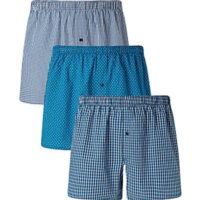23889941 | John Lewis Multi Pattern Woven Cotton Boxers  Pack of 3  Navy