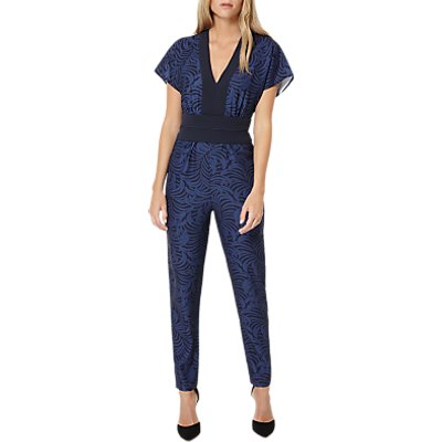 Damsel in a Dress Plumage Print Jumpsuit, Navy