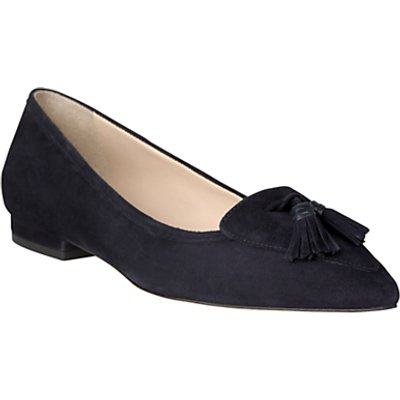 L.K. Bennett Dixie Pointed Toe Loafers, Navy Suede