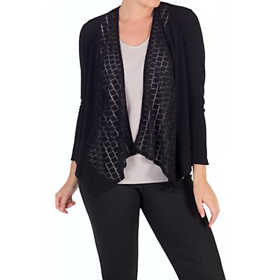Chesca Jersey Mesh Square Trim Shrug, Black